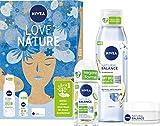NIVEA Love Nature Geschenkset, Set mit Tagespflege, Deo und Duschgel aus der Natural Balance...