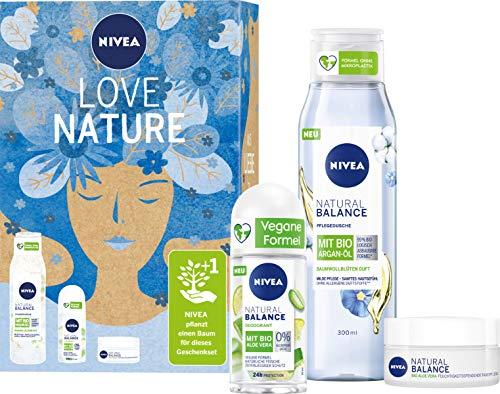 NIVEA Love Nature Geschenkset, Set mit Tagespflege, Deo und Duschgel aus der Natural Balance Pflegeserie, Pflegeset für Verwöhnmomente