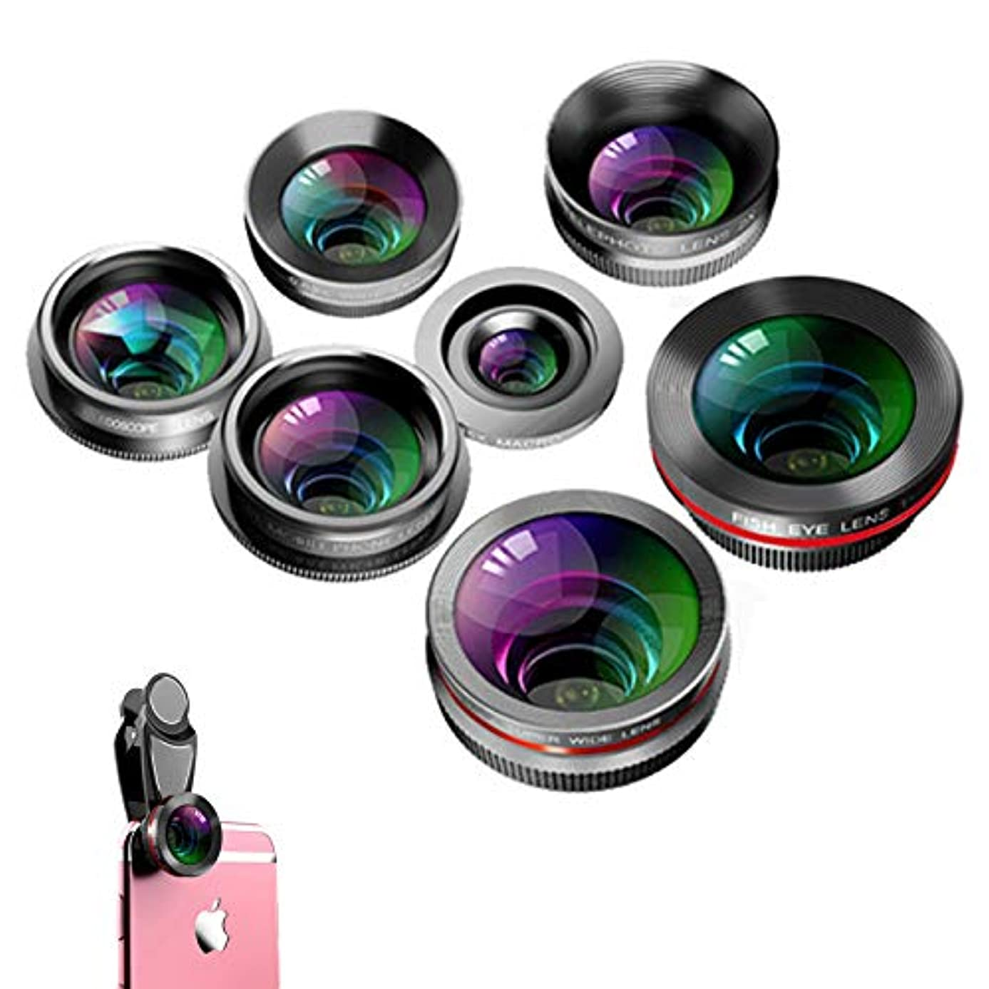 Phone Camera Lens 7 in 1,15X Zoom Telephoto Lens Remote Shutter, 198 Fisheye, Macro and 0.63 0.63 Wide Angle Lens Kaleidoscope CPL Clip for iPhone Samsung Ipad