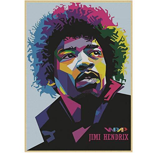 Arte de la pared Pintura de la lona Guitarra eléctrica Dios Jimi Hendrix Cartel Música rock Cartel vintage Bar Cafe Decoración del hogar Pintura Arte Pegatinas de pared 50 * 70 cm sin marco