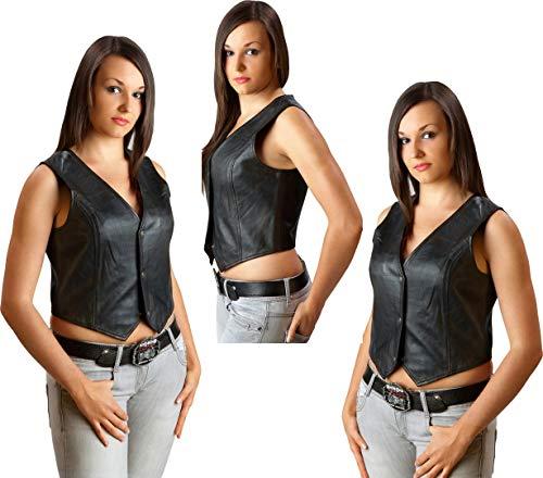 Stars & Stripes Lederweste Damen Biker Lady Leather Vest Western Gr. M Wild West Line Dance Kleidung