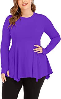 Uoohal Women's Plus Size Athletic Shirts Long Sleeve Swing Sports Workout Yoga Tops Activewear