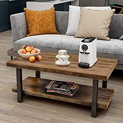 P PURLOVE Coffee Table Rustic Style Solid Wood+MDF and Iron Frame Rectangle Coffee Table for Living Room with Storage Shelf Easy Assembly