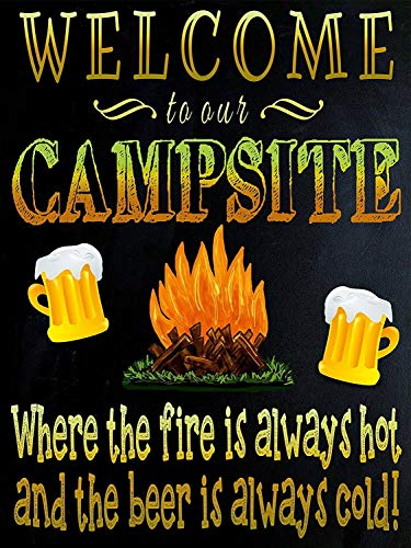 Vintage Metal Tin Sign Firepit Welcome to Our Campsite Home Bar Club Hotel Wall Decor Signs 12X8Inch
