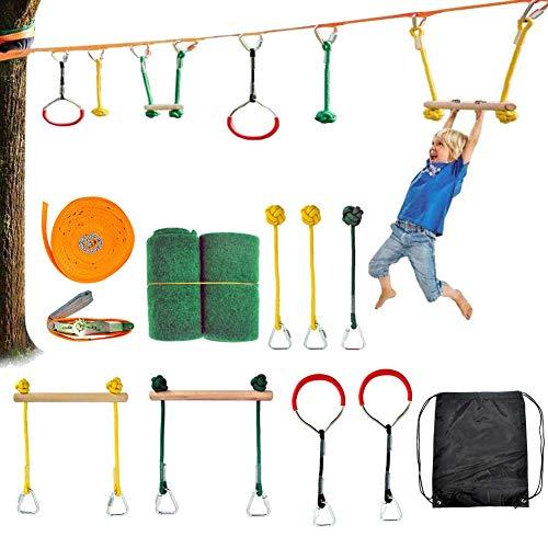 Slackline Set, Kit Slackline con Ejercicios Línea para Brazo,Ninja Slackline Monkey Bar Kit,Slackline para niños, Principiantes y Expertos