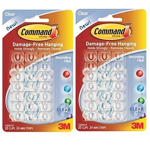 3M Command Christmas Fairy Light Strips Hooks Adhesive & Transparent Hooks [Pack of 2] Paquete de 2 transparent