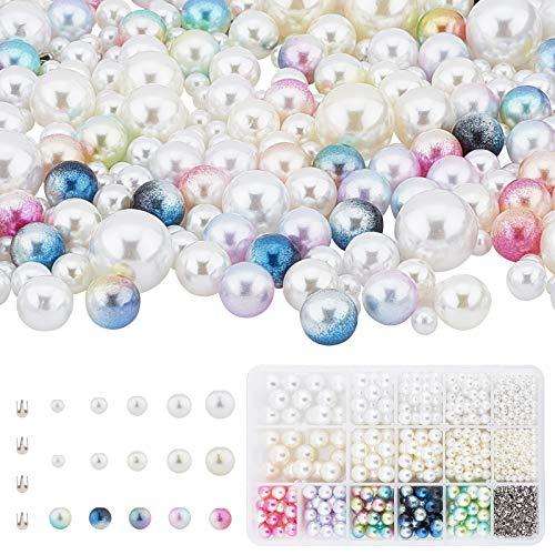 PandaHall 955 perlas redondas de imitación sin agujeros, cuentas acrílicas con remaches...
