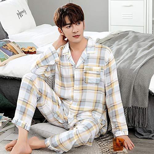YHSW Conjunto de Pijama de Manga Larga para Hombres,algodón de Dos Piezas,Estilo clásico Tradicional con Botones para Hombres (L-XXXL)