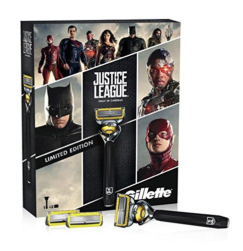 Gillette Fusion ProShield - Set de regalo edición limitada Liga de la Justicia con maquinilla de afeitar, 2 recambios