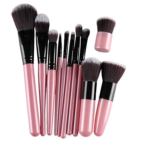 Emily 11 pcs pinceaux de Maquillage Professionnel Foundation Set de Bambou cosmétique Doux Noir et Rose