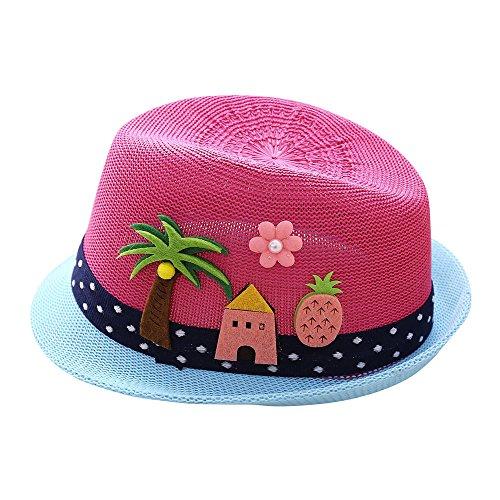FRAUIT Sonnenhut Kinder Baby Schutzhut Strohhut für Jungen mit Anker-Motiv, Hawaii Fedora Hut Handgemacht