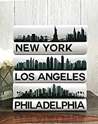 city skyline silhouette art ~ book jacket art