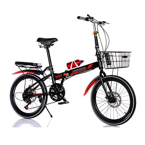 Bicicleta, Bicicleta de CercaníAs PortáTil de 20 Pulgadas, Bicicleta Plegable, TransmisióN de 7 Velocidades, Freno de Disco Doble, para Trabajadores de Oficina/Estudiantes/D / 150x94cm