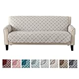 Great Bay Home Reversible Couch Cover for 3 Cushion Couch. Printed Sofa Covers for Living Room with Secure Straps. Protect from Kids, Dogs and Pets. (Sofa, Silver Cloud)