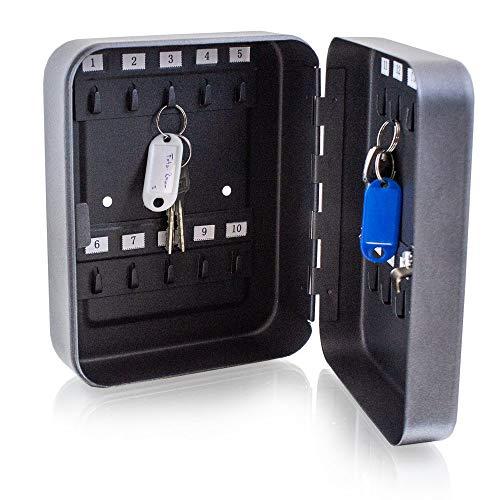 BITUXX® Mini Schlüsselsafe Schlüsselkasten Schlüsseltresor Schlüsselschrank mit 20 Schlüsselhaken Graphit Optik