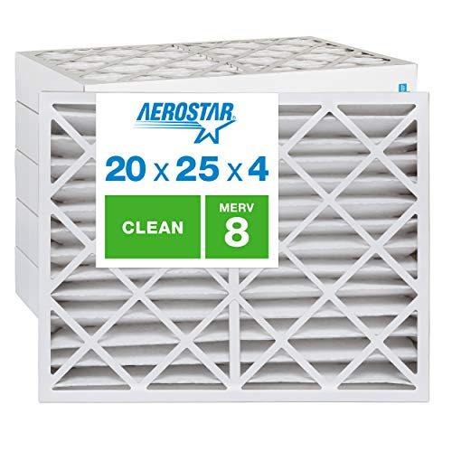 """Aerostar Clean House 20x25x4 MERV 8 Pleated Air Filter, Made in the USA, (Actual Size: 19 1/2""""x24 1/2""""x3 3/4""""), 6-Pack"""