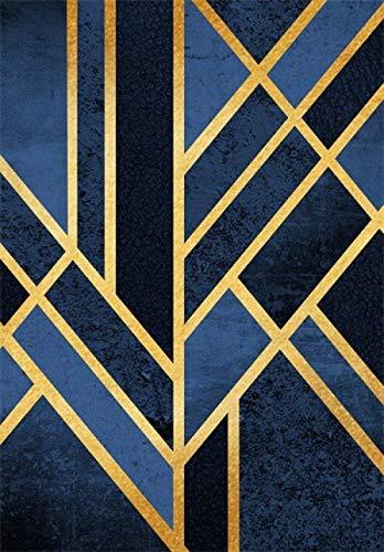 Moderne Tapis Salon Chambre Poil Court Vinyl Rug Art géométrique Traditionnel Bleu Marine Noir doré Extra Large/Médium/Petit Rug Carpet Chambre Enfant Insonorisant Déco Tapis 200×300CM