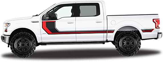 Factory Crafts Ford F-150 2015-2017 SuperCrew 5.5 Bed Rally Stripe 2 Graphics 3M Vinyl Decal Wrap Kit - Black & Dark Red