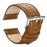 時計バンド クイックリリース 本革時計バンド - 男性用および女性用の滑らかで柔らかいカーフスキンの裏地のエレガント時計バンド - サイズ 16mm 18mm 19mm 20mm 22mm (22mm, きいろい)