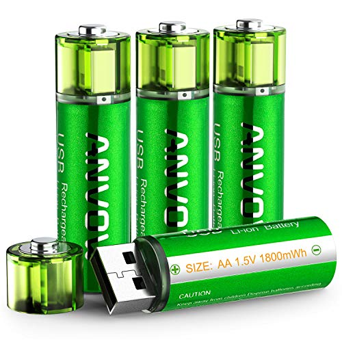 AA Lithium Batteries, ANVOW Double A Rechargeable Batteries USB Charging Port 1.5V 1800mWh 1000 Cycles Recyclable Recharge Battery, Pack of 4