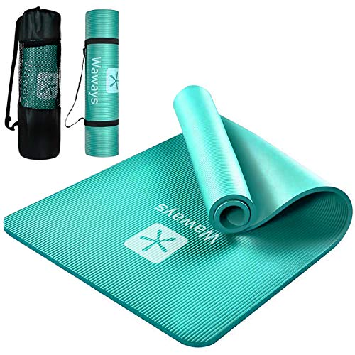 (2021 Version) Yoga Mat, Training Mat, Pilates Mat, Exercise Mat, NBR Material, High Density, 0.4 inches (10 mm), Excellent Cushion, Skin Friendly, Floor Protection, Soundproofing, Pilates, Stretching, Core Training, Muscle Training, Fitness, Portable, Easy Storage, Washable, Unisex, Storage Case Included, Yoga Mat (Light Blue)