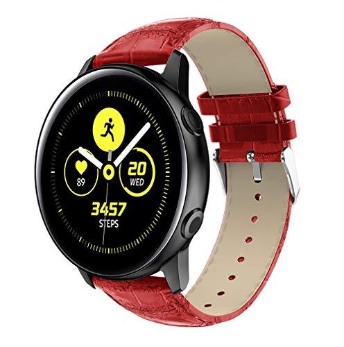 HappyTop - Correa de Piel sintética para Samsung Galaxy Watch Active Watch, Color Rojo, Informal