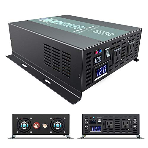 WZRELB Full Power 1000W Rated Power 2KW Surge Power 12V to 120V DC to AC Pure Sine Wave Inverter for Solar System and Off Grid Application Power Converter, (RBP100012B1)