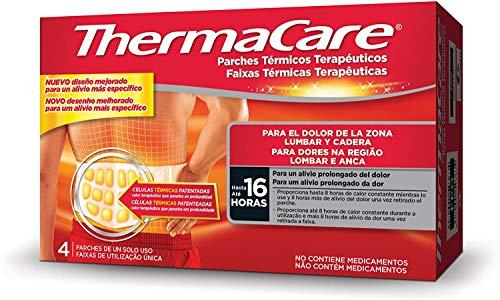 THERMACARE Parche Térmico Terapéutico - 4 parches - Para el Dolor Lumbar y Cadera - Alivio Prolongado del Dolor Hasta 16 Horas - Sin Medicamentos