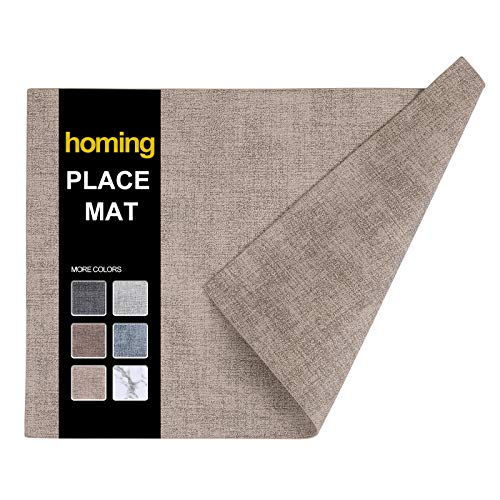homing Faux Leather Camel Placemats Set of 6 - Waterproof Wipeable Heat-Resistant Anti-Skid Place mats for Dining Table, Stain-Resistant Easy to Clean