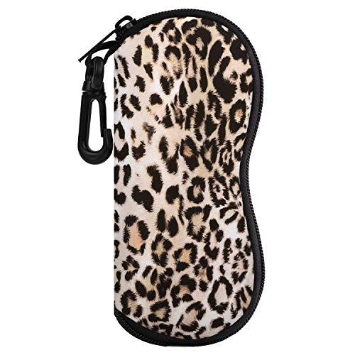 MoKo Funda de Gafas - [Ultra Ligero] Neopreno con Cremallera Almacenaje Lente Suave Sunglasses Case con Clip de Cinturón para Gafas, Bolsa de Llaves, Lápices, Tarjetas - Leopardo