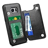 HianDier Wallet Case for Galaxy S7 Edge, Slim Protective Case with Credit Card Slot Holder Flip Folio Soft PU Leather Magnetic Closure Cover Case Compatible with Samsung Galaxy S7 Edge, Black