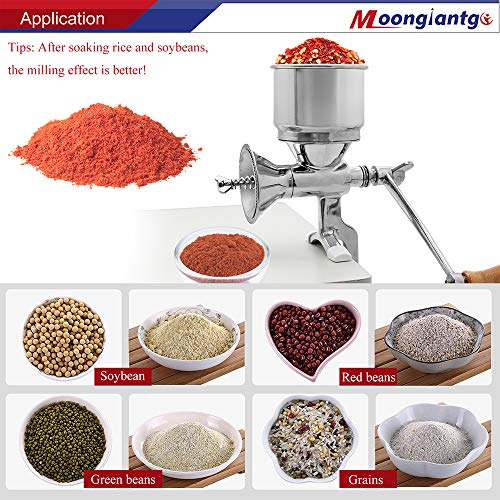Moongiantgo Manual Grain Grinder Mill Stainless Steel Hand-cranked Manual Coffee Grinder with Large Hopper for Coco Pepper Nixtamalized Corn Chickpeas Poppy Seeds Bean Grains Spices