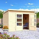 HORI® Gartenhaus I Gerätehaus Skagen aus Holz ohne Anbau I nordische Fichte natur I 275 x 275 cm - 28 mm Bohlenstärke
