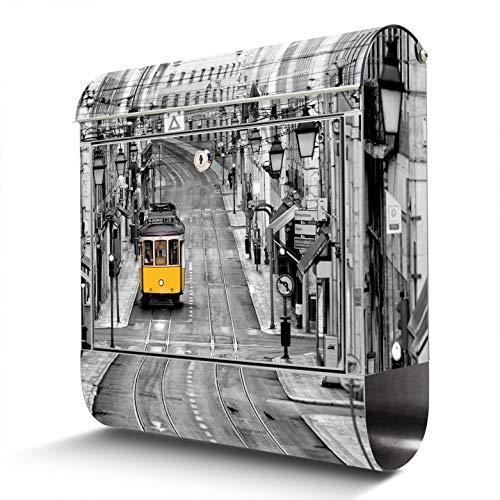BANJADO Edelstahl Briefkasten mit Zeitungsfach, Design Motivbriefkasten, Briefkasten 38x43,5x12,5cm groß Lissabon