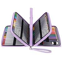 Sumnacon 202本入り PU 色鉛筆ケース 大容量 ペンケース ペンシルホルダー 色鉛筆 ペン 定規 消しゴム 文具収納 筆箱 シンプル 持ち運び便利(色鉛筆なし、パープル)