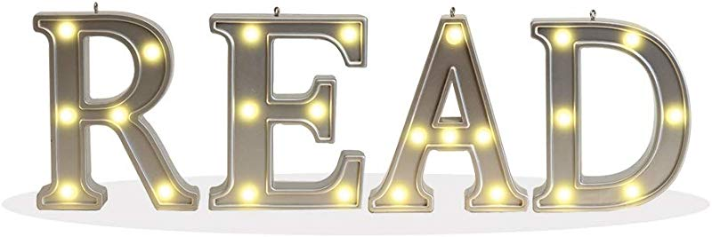 Silver Marquee Letter Battery Powered Lighted Letter Words And Signs For Home Bedroom Kids Nursery Study Room Table Wall Decor Read