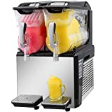 VBENLEM 110V Slushy Machine 20L Double Bowl Margarita Frozen Drink Maker 600W Automatic Clean Day and Night Modes for Supermarkets Cafes Restaurants Snack Bars Commercial Use, Sliver