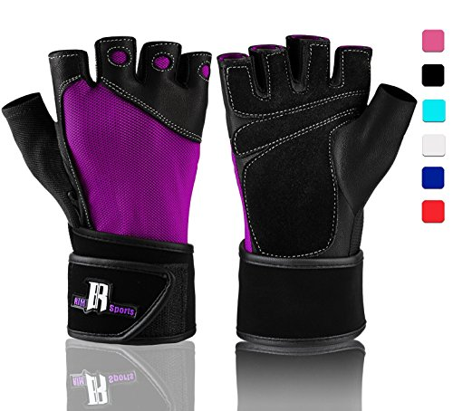 RIMSports Workout Gloves with Wrist Support - Best Gym Gloves - Premium Weight Lifting Gloves for Gym - Ideal Wrist Wrap Gloves, Training Gloves, (Purple S)