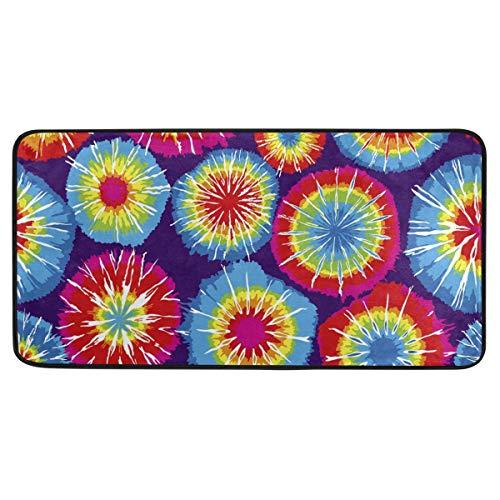 Rulyy Floral Mandala Batik-Teppich, rutschfest, weich, saugfähig, Fußdecke für Wohnzimmer, Esszimmer, Eingangsbereich, Teppich für Dekoration, 99,1 x 50,8 cm