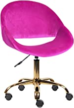 GIA Mid-Back Adjustable Swivel Vanity Chair, Velvet Purple