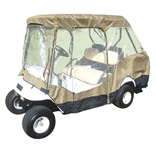 4 Passenger Golf Cart Driving Enclosure Cover (2 Passenger Short Roof 58') (Taupe)