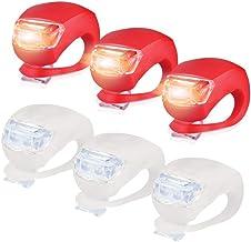 Sayla Kinderwagen Licht, 6 Stück LED Lampe Licht, LED Sicherheitslicht Silikon Leuchte Kinderwagen 3X LED Weißlicht & 3X LED rotlicht Blinklicht Taschenlampe für Bergsteiger Zubehör Rot
