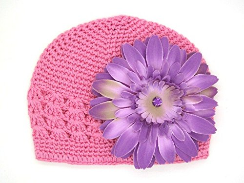 Jamie Rae Hats – Candy Pink Crochet Hat with Lavender Daisy, Size: 12-18M