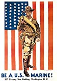 UpCrafts Studio Design American War Propaganda Poster 11.7 x 16.5 - BE A US Marine - Military Decorations for Bedrooms, Wall Art for Living Room
