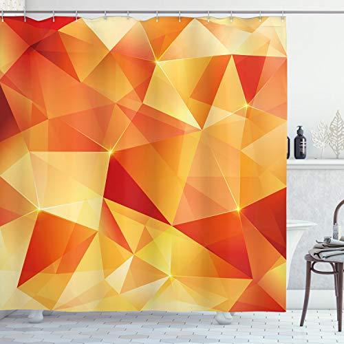 ABAKUHAUS Abstrakt Duschvorhang, Orange Dreiecke Kunst, mit 12 Ringe Set Wasserdicht Stielvoll Modern Farbfest & Schimmel Resistent, 175x180 cm, Orange & Gelb