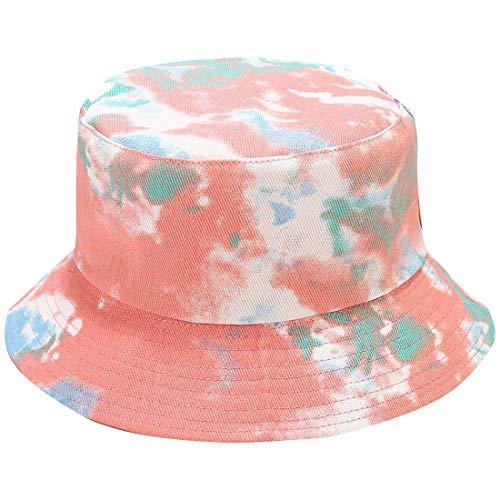 Tie Dye Bucket Hat Packable Summer Travel Reversible Bucket Fisherman Sun Hat Orange-Green