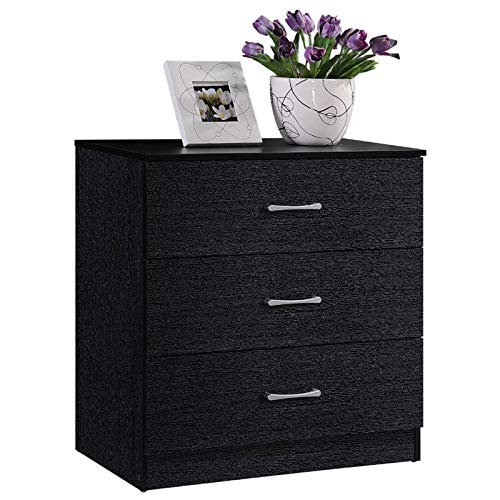 Pemberly Row Contemporary 3 Drawer Chest with Metal Gliding Rails in Black