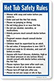SmartSign Hot Tub Safety Rules Sign, 10 x 15 Inches, 55 Mil Thick Plastic, Recyclable Base, Digitally Printed, Made in USA
