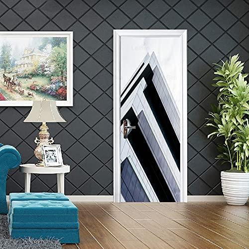Adesivo per Porte autoadesivo Palazzo Grattacielo HD City Building Picture Art Poster Home Decor Armadio Decorazione Decalcomania murale A12 77x200cm