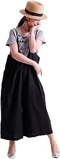 [ゴールドジャパン] 大きいサイズ レディース コットン リネン ワイド サロペット パンツ クロップド 無地 麻 混